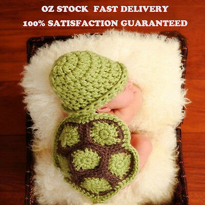 Newborn Infant Baby Crochet Knit Photo Photography Costume Animal Prop Tortoise