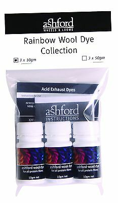 Ashford Wool Dye Rainbow Collection - 3 Colours x 50g AWDRC50
