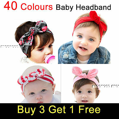 Baby Toddler Girl Kids Bunny Rabbit Bow Knot Turban Headband Hair Band Headwrap