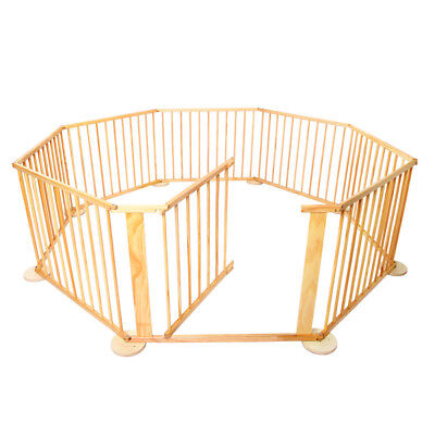 Baby Natural Wooden Play Pen 8 Sides Kids Toddler Safety Playpen Gate New