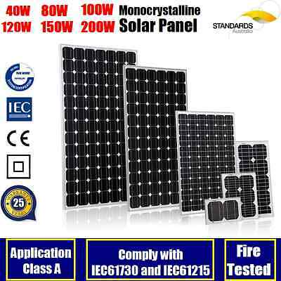40W 80W 100W 120W 150W 200W 250W Mono Solar Panel Kit Caravan 12V Battery Charge