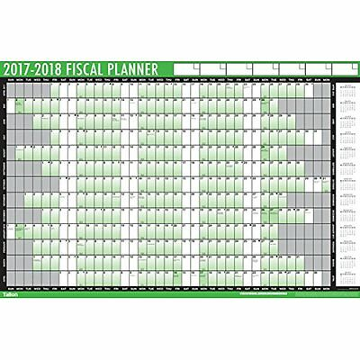 Large A1 2017 2018 Fiscal Year Wall Planner Calendar Pen Stickers - 3800
