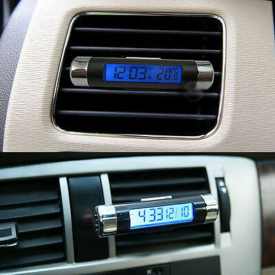 New 2 in 1 Car LCD Display Clip-on Digital Blue Backlight Thermometer Time Clock