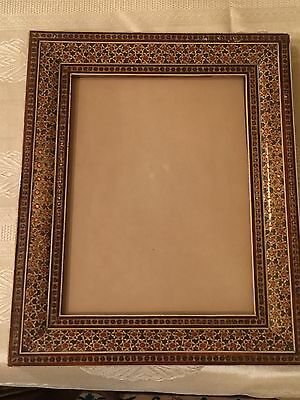 Vintage Persian Khatam Picture Frame With Glass