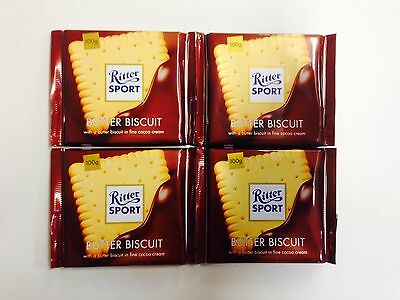 4 x 100g BARS OF RITTER SPORT CHOCOLATE - BUTTER BISCUIT IN FINE COCOA CREAM