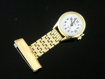 New NURSES WATCH Mesh GOLD with DATE Upside Down Lapel Watch on Pin - FREE POST