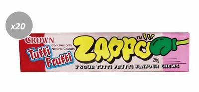 20 x 26g PACKETS OF ZAPPOS -  7 SOUR TUTTI FRUTTI FLAVOURED CHEWS