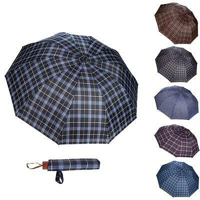 Hot Men Women Plaid Men's Travel WindProof Compact portable Folding UV Umbrella