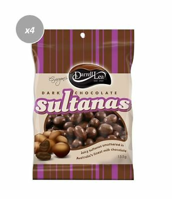 902117 4 X DARRELL LEA AUSTRALIAN DARK CHOCOLATE COATED SULTANAS 155g BAG