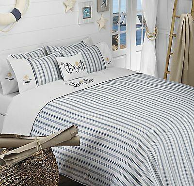 Blue & White Stripe 100% Cotton Bedding Nautical  AHOY BLUE -  Duvet Cover Set