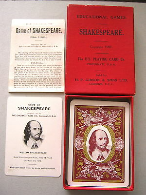 Playing Cards Antique Uspcc Copyright 1901 Shakespeare Game Excellent +Box+Rule
