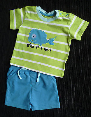 Baby clothes BOY 9-12m M&S summer outfit whale t-shirt/turquoise shorts NEW!