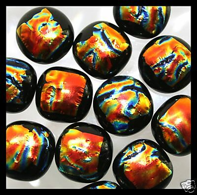 Lot of 6 ORANGE GOLD RIPPLE Fused Glass DICHROIC Cabochons NO HOLE Beads