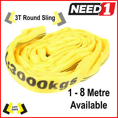 3T Round Lifting Sling 1-8 Metres Available 100% Polyester Comes With Test Cert