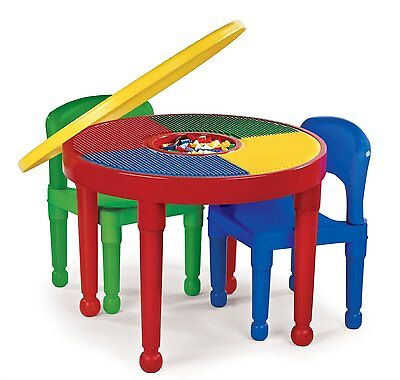 Round Plastic Construction Table 2 Chairs Play Legos Kids Dining Building Blocks