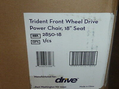 """NEW Drive Medical 2850-18 Trident Front Wheel Power Wheelchair 18""""W Seat 300lb"""