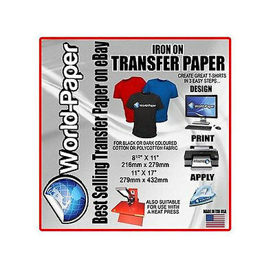 "Inkjet Iron-On Heat Transfer Paper, For Dark fabric, 10 Sheets - 8.5"" x 11"""