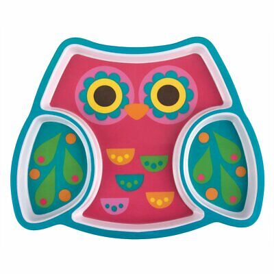 NEW Stephen Joseph Childrens Owl Melamine Tray Plate 3D Divided Kids Feeding