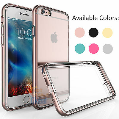 Shockproof Frame Bumper Clear TPU Back Case Cover for iPhone 6 6s Plus