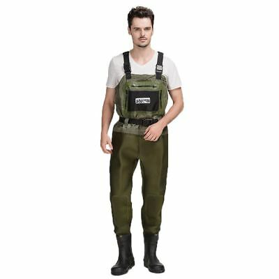 Neoprene Breathable Fishing Waders With Rubber Boots - Mens - Green - [ADW-888]