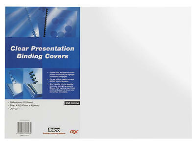 Ibico Clear Binding Covers 250 Micron A3 Pack 25