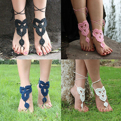 1xBoho Barefoot Sandals Crochet Cotton Foot Jewelry Anklet Bracelet Ankle Chain