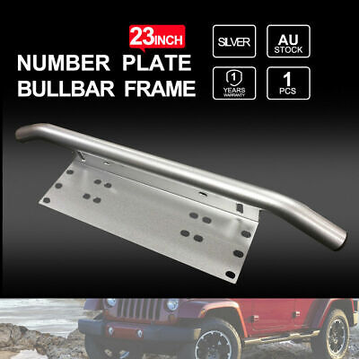 Number Plate Bullbar Frame Mounting Bracket Driving Light Bar Holder Silver 23""