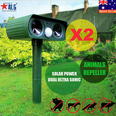 2X Solar Dual Ultra Sonic Garden Pest Repeller Cat Dog Fox Animal Deterrent