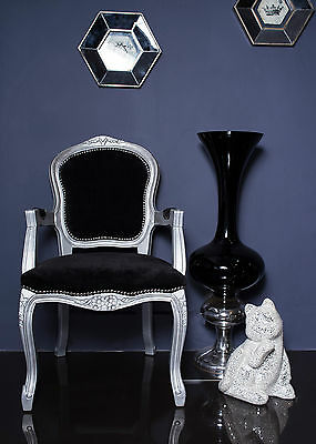 French Louis Armchair Silver Black Shabby Chic Antique Style Bedroom Hall Carver