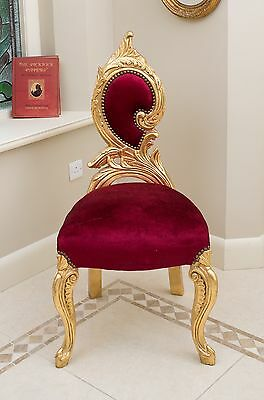 Rococo Chair High Back Gold Red Shabby Chic Throne Hallway Swirl Velvet Low