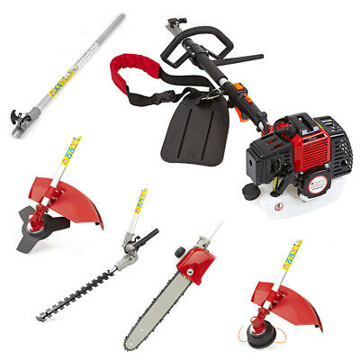 43cc 5 in 1 Petrol Hedge Trimmer Chainsaw Strimmer Brushcutter Garden Multi Tool