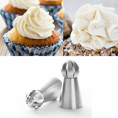 2PCS Russian Tulip Stainless Steel Icing Piping Nozzles Tips Cupcake Decoration