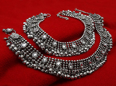 Indian Traditional Barefoot Ankle Chain Bracelet Payal Silvertone Anklet Jewelry