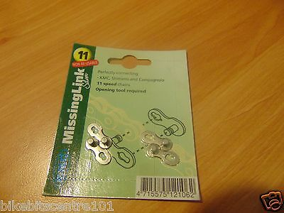 KMC 2 x Missing Link for 11 speed chains, KMC Shimano/Campagnolo (Silver)