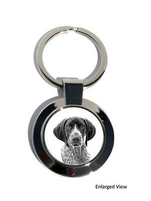 German Shorthaired Pointer Dog Round Chrome Plated Keyring Boxed Gift Key Fob
