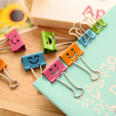 Cute 8pcs Metal School Office Student Documents Papers Binder Clips Small Smiley