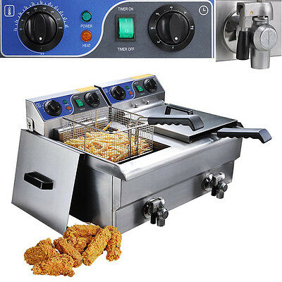 Electric 20L Commercial Deep Fryer w/ Timer and Drain Fast Food Fry Dual Tank