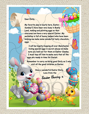 Personalised Letter From The Easter Bunny Rabbit + Envelope Surprise Your Child!