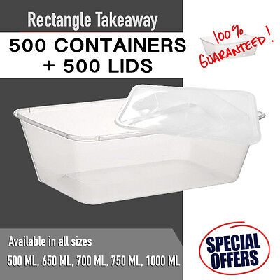 1000PC Disposable Rectangular Plastic Containers + Lids Takeway Lunch Container