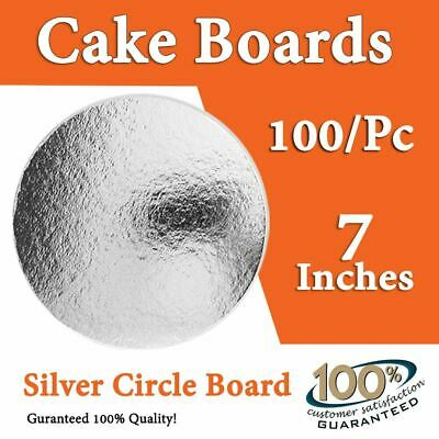"Cake Board 100 Pc x 7 Inches"" Round Silver Circle Cardboard"
