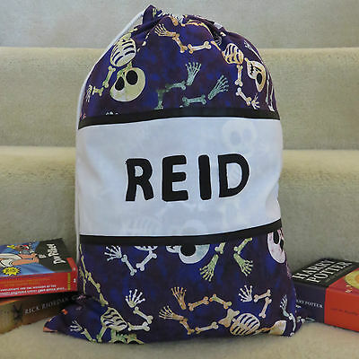 CHILD'S / BOYS PERSONALISED NAME LIBRARY BAG / TOY BAG - Skeleton Print -