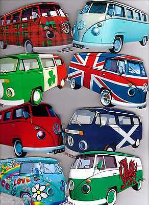 Retro VW Camper Van Campervan Large Wooden Fridge Magnet Split + Full Screen New