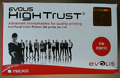 Evolis Hightrust R3011 5 panel YMCKO colour ribbon 200 prints for pebble, dualys