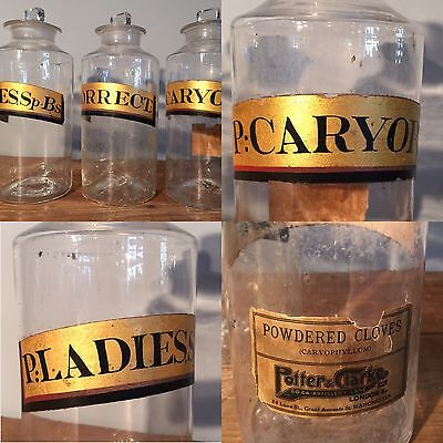 Set Of Three Apothecary Bottles Potter And Clarke C1890