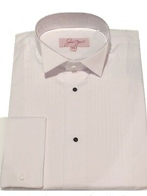 Wing Collar Dress Shirt Pleated White / Men`s New Tuxedo Evening Wear Stud Shirt