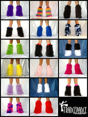 Neon Fluffy Boot Covers Legwarmers Fuzzy Furry Fluffies Rave Gators