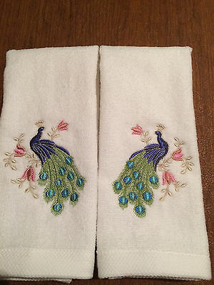 Set of 2 Embroidered  Tea Towels with a Multi-Color Zundt Peacock designs
