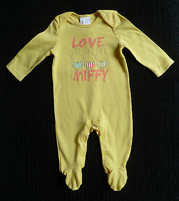 Baby clothes UNISEX GIRL BOY 0-3m Miffy rabbit yellow soft babygrow COMBINE POST