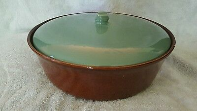 Red Wing Pottery Usa Village Green Casserole 4 Quarts Green Lid & Brown Dish