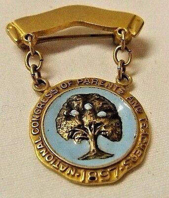 10KT -10K Gold Vintage National Congress Of Parents And Teachers Lapel Pin -1897